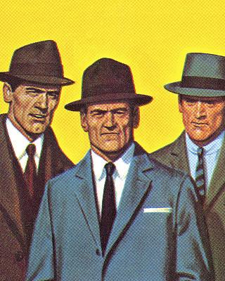 衣服,男人,套裝,三個人,帽子,戲劇表演,呢帽,彩色背景,僅男人,偵探