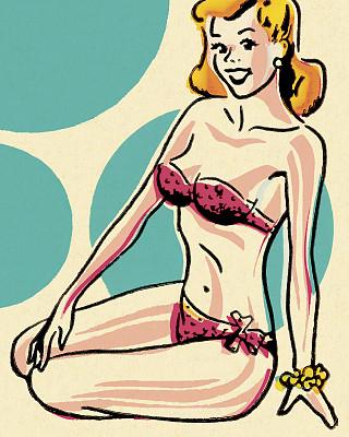 女人,比基尼,衣服,肖像,一个人,泳装,面部表情,波普风,金色头发,欢乐