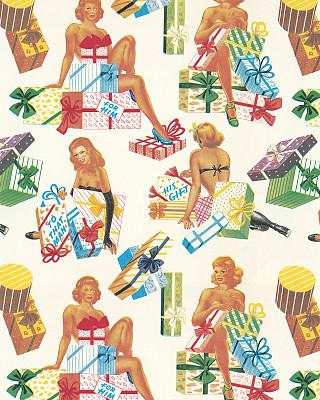 包装纸,女人,式样,礼物,人,白色背景,热情,彩色背景,垂直画幅,肖像