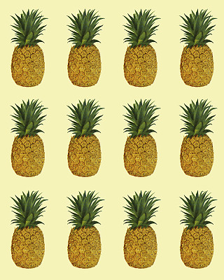 菠萝,式样,有机食品,黄色,中等数量物体,夏威夷,太平洋岛屿,彩色背景,健康食物,垂直画幅