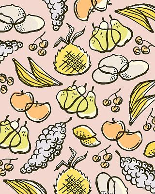 食品,式样,包装纸,彩色背景,健康食物,垂直画幅,香蕉,柠檬,梨,樱桃