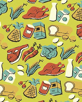 食品,式样,蔬菜,奶制品,彩色背景,牛奶,多样,面包,食品杂货,鸡蛋