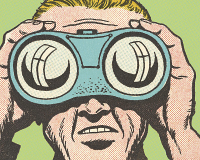 男人,双筒望远镜,特写,透过窗户往外看,彩色背景,漫画书,仅男人,肖像,一个人,视力