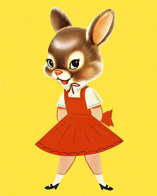 兔子,女孩,人的头部,可爱的,彩色背景,肖像,仅儿童,一只动物,动物,面部表情