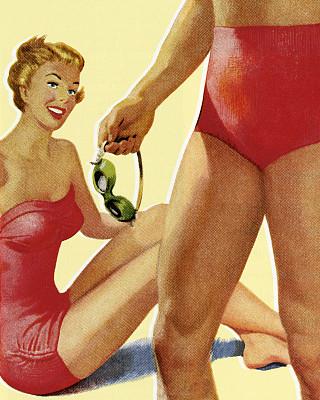 女人,男人,特写,海滩,彩色背景,泳装,面部表情,晒黑,波普风,休闲活动
