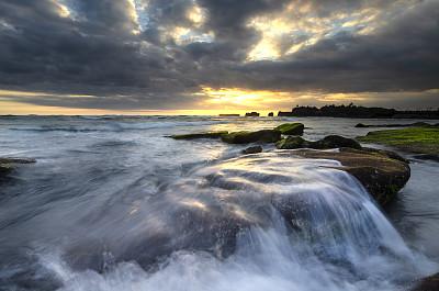 海滩,云,迅速,沙岩,自然美,海岸线,波浪,背景,岩石,天空
