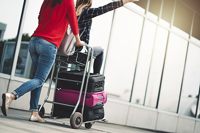 两个人,友谊,手推车,商务,旅途,行李,自由,商务旅行,汽车,女人