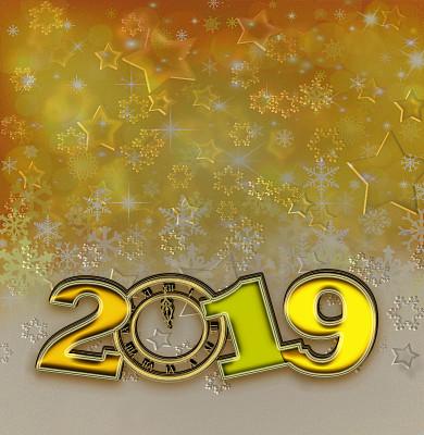 2019,新年前夕,黄金,纹理效果,法定假日,贺卡,色彩鲜艳,色彩渐变,闪光灯照明,幸福