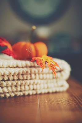 舒服,南瓜,毯子,桌子,橙色,简单,枫叶,餐桌,乡村风格,背景