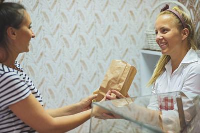 职业,快乐,专业人员,饮食产业,自制的,顾客,仅女人,以客户为中心,幸福,烘焙师