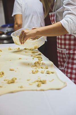 自制的,肉馅饼,传统,专业人员,配方,无法辨认的人,食品,成分,女人,小麦面团