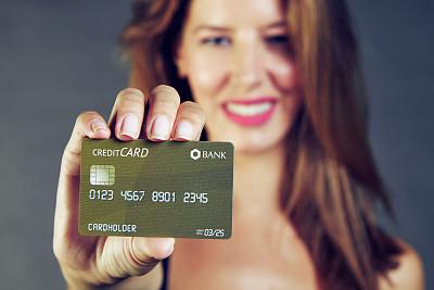 青年女人,拿着,信用卡,商务,暗色,灵感,肖像,一个人,女人,色彩鲜艳