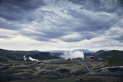 地热发电站,秘密,热,暗色,山脊,云景,雪山,火山岩,自然神力,云