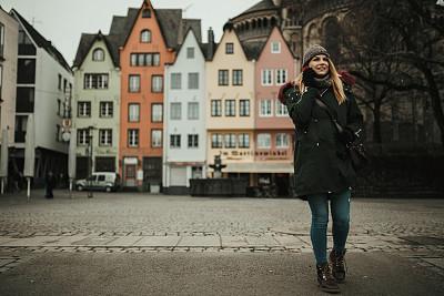 女人,街道,德国,伦敦城,衣服,休闲装,旅途,技术,户外,建筑