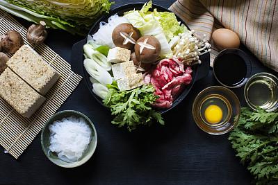 日本,寿喜烧,家,传统,蔬菜,日本食品,食品,酱油,白菜,金针菇