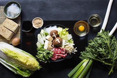 日本,寿喜烧,传统,家,蔬菜,日本食品,食品,酱油,白菜,金针菇