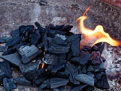 煤,火,热,橙色,营火,夏天,户外,危险,木制,夜晚