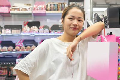 业主,商店,女人,美,肖像,亚洲,新的,化妆用品,新创企业,经理