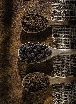 边框,木匙,咖啡,帆布,研磨食品,咖啡豆,三个物体,饮料,传统,纹理效果