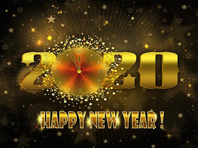2020,新年前夕,法定假日,贺卡,暗色,午夜,色彩鲜艳,色彩渐变,幸福,夜晚