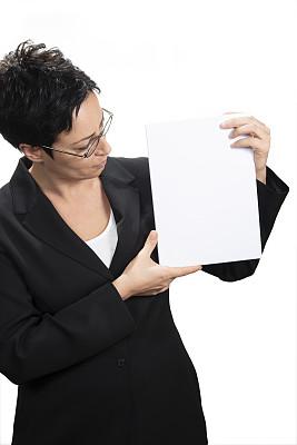 白色,女人,背景分离,肖像,现代,商业金融和工业,拿着,消息