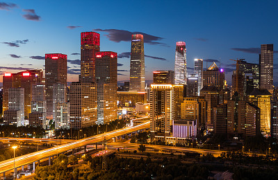 夜晚,北京cbd,北京,曙暮光,黄昏,公路,现代,色彩鲜艳,户外,建筑