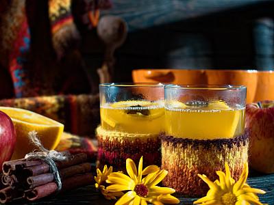 苹果酒,秋天,饮料,热,两个物体,杯,香料,肉桂,食品,玻璃杯