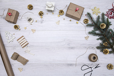 木制,背景,礼物,贺卡,圣诞装饰物,边框,圣诞卡,复古风格,古典式