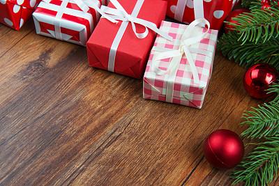 背景,圣诞礼物,圣诞装饰物,圣诞卡,厚木板,复古风格,古典式,木制,圣诞树,圣诞小彩灯