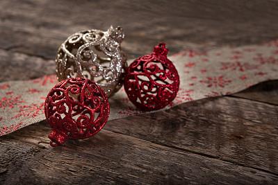 闪亮的,高雅,桌子,缎带,帆布,华丽的,纹理效果,贺卡,圣诞装饰物
