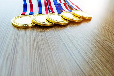 木制,黄金,书桌,奖牌,数字5,运动,证章,国际性体育比赛,奖,圆形
