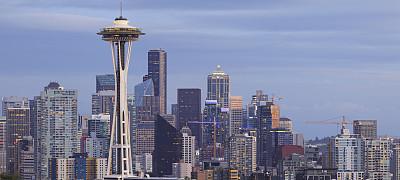 华盛顿州,西雅图,城市天际线,全景,摩天大楼,图像,美国,无人,旅游目的地,户外