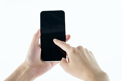 智能手机,白色背景,手,女人,数字化显示,背景分离,技术,现代,计算机软件,中国