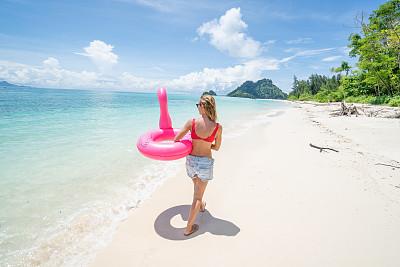 泰国,从容态度,旅游目的地,充气品,火烈鸟,青年女人,乐趣,人,海滩,步行