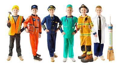 职业,男孩,白色背景,儿童,仅儿童,8岁到9岁,宇航员,各行各业人员,飞行员,消防员