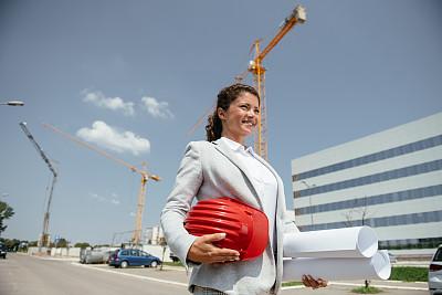 工程师,女性,专业人员,策略,技术,蓝图,商业金融和工业,商务策略,户外,建筑