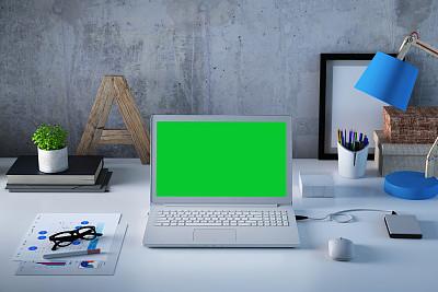 办公室,书桌,笔记本电脑,正下方视角,轻蔑的,黑屏,风景,商务,瑞典,计算机