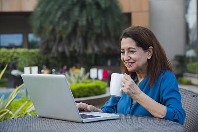 老年女人,图像,股票,杯,肖像,技术,简单,工作年长者,马克杯,忙碌