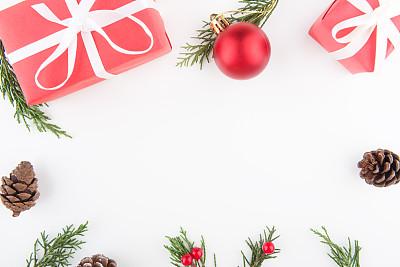 背景,圣诞礼物,圣诞装饰物,球,边框,圣诞卡,圣诞树,新年,生日,白色