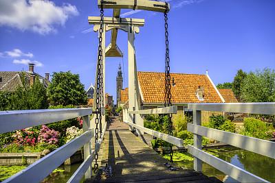 乡村,荷兰,荷兰干酪,高动态范围成像,小的,云,复古风格,巷,草,著名景点