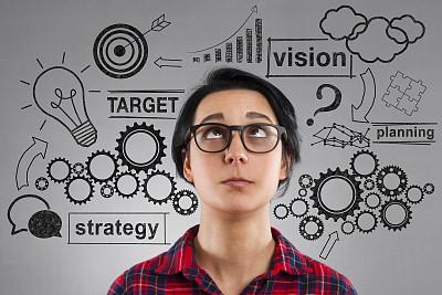 策略,草图,向上看,青年女人,肖像,图表,商业金融和工业,想法,商务策略,仅女人