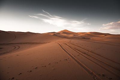 黄昏,摩洛哥,沙漠,撒哈拉沙漠,西撒哈拉沙漠,热,北非,自然美,erg chebbi dunes,夏天