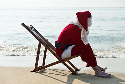 圣诞老人,沙滩椅,海滩,仅男人,热带气候,仅一个男人,椅子,逃避现实,中国,全身像