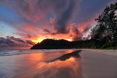 奥普劳,海滩,岛,云景,热带气候,云,泰国,黄昏,自然美,海岸线