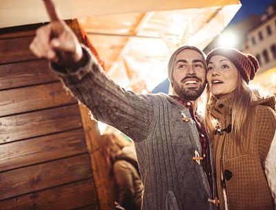 圣诞市场,异性恋,旅行者,热情,广场,欢乐,户外,佛罗伦萨,幸福,夜晚