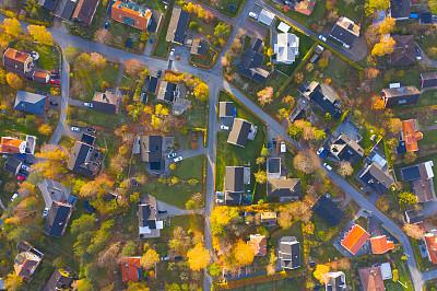 都市风景,别墅,居住区,顶部,在上面,瑞典,航空器拍摄视角,斯堪的纳维亚半岛,索伦蒂纳,斯德哥尔摩