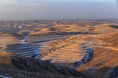 宁夏回族自治区,风景,农业,安静,黄昏,农场,梯田,户外,白色,自然地理
