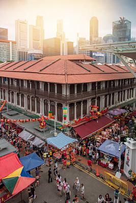 拥挤的,新加坡市,街道,佛,行人,旅行者,人,群众,户外,夜晚