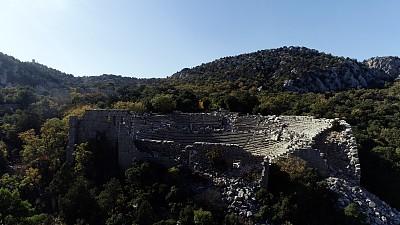 安塔利亚省,远古的,航拍视角,剧院,圆形剧场,土耳其,会堂,古董,户外,建筑