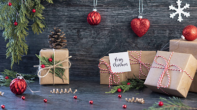 背景,纸,包装纸,卡夫,有包装的,暗色,圣诞装饰物,玩具,边框